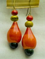 Water drop shaped wood and lacquer ear drops