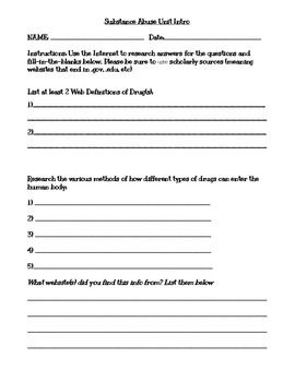 Intro to Drugs Webquest This is a worksheet designed to have students explore the basic facts about drugs. Student Instructions: Use the Internet to research answers for the questions and fill-in-the-blanks below. The students will: Research the various methods of how different types of drugs can enter the human body Vocabulary --- Match the letter of the word with it's definition A) Misuse B) Abuse C) Depressant D) Stimulant E) Peer Pressure F) Tolerance