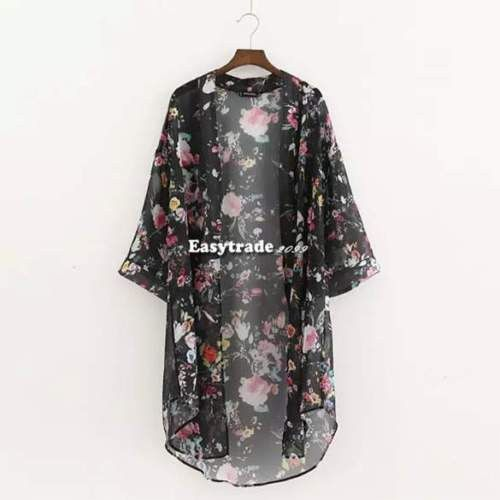 M-XXL Boho Women Chiffon Floral Cardigan Kimono Bikini Cover Up Dress 3/4 Sleeve