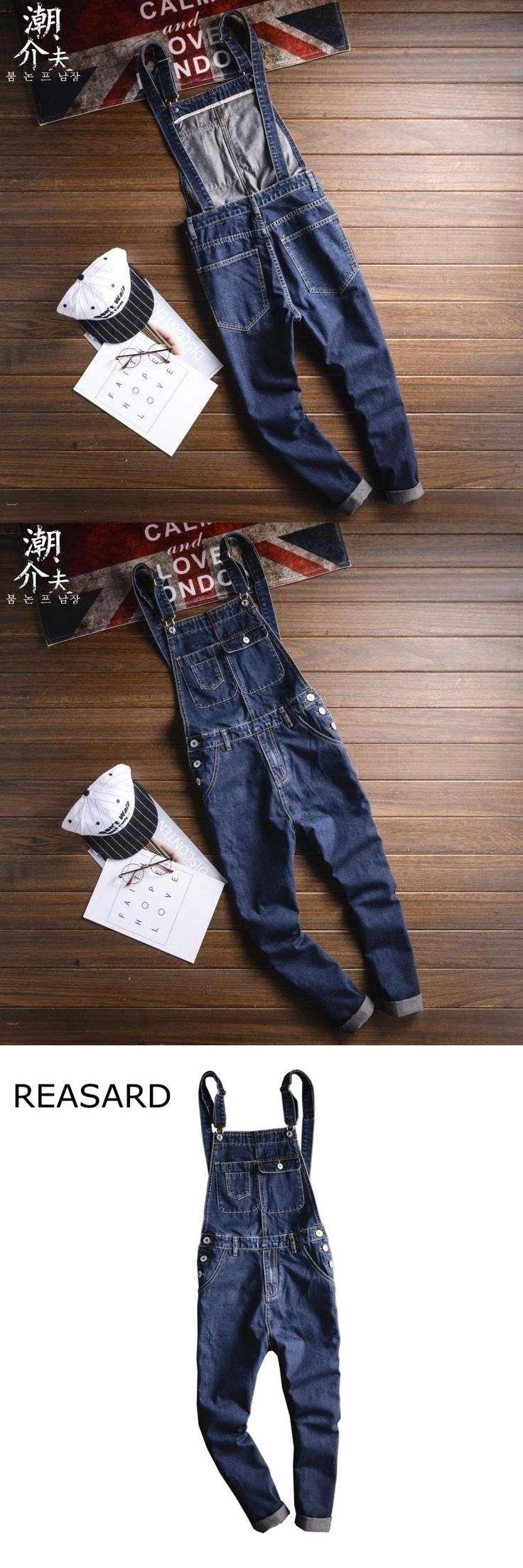New Fashion Mens Denim Bib Overalls Jeans 2017 Brand Men's Clothing Casual Jumpsuit Jeans Pants For Man