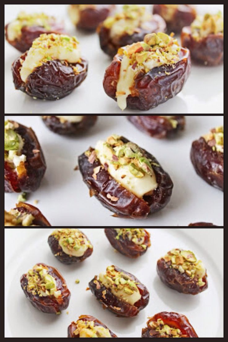 Healthy snack foods: Stuffed Medjool Dates with Soft Brie and Pistachios…