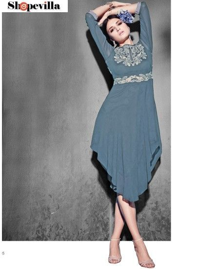 Sensible Grey Georgette Party Wear Kurti-8005