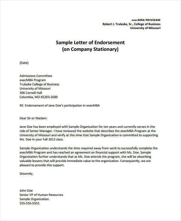 Simple Endorsement Letter Sample New 16 Endorsement Letters