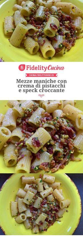 Mezze Maniche con Crema di Pistacchi e Speck Croccante