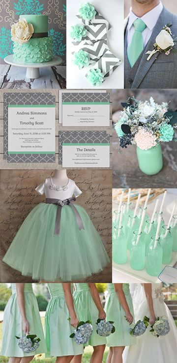 Mint Green & Gray Wedding Colors #SummerWedding. From top left: cake buy Bloom Cake Co.; bridal party clutches by allisajacobs on Etsy; Groom's tie via WeddingWire; wedding invitations by Lucerne Ave. on Etsy; centerpice by CarolinaRosaDesigns on Etsy; flower girl dress by TutusChicOriginals on Etsy; drinks via BuzzFeed; bridesmaids photo by Jo Photo