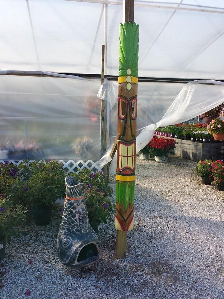 Tiki totems and tribal chimineas.