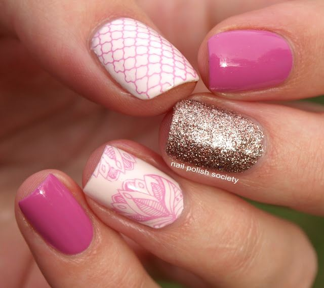 Nail Polish Society: Pink Skittlette With UberChic stamping plates. I love this pink manicure idea with the glitter accent. Beautiful summer nail art design! Perfect nail stamps for the summer. Who doesn't love the floral design!?! Nail art is amazing!