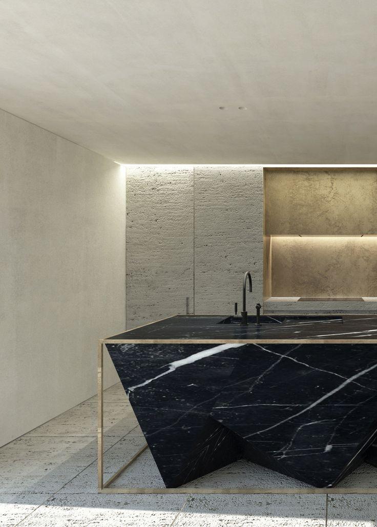 Impresionante encimera de mármol negro