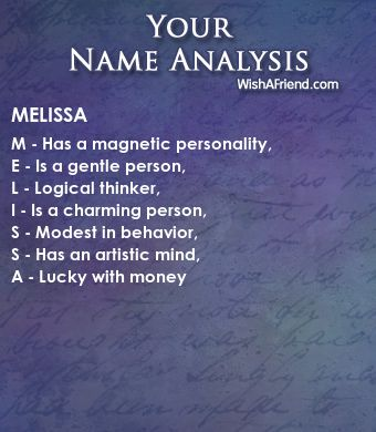 Name Analysis of Melissa