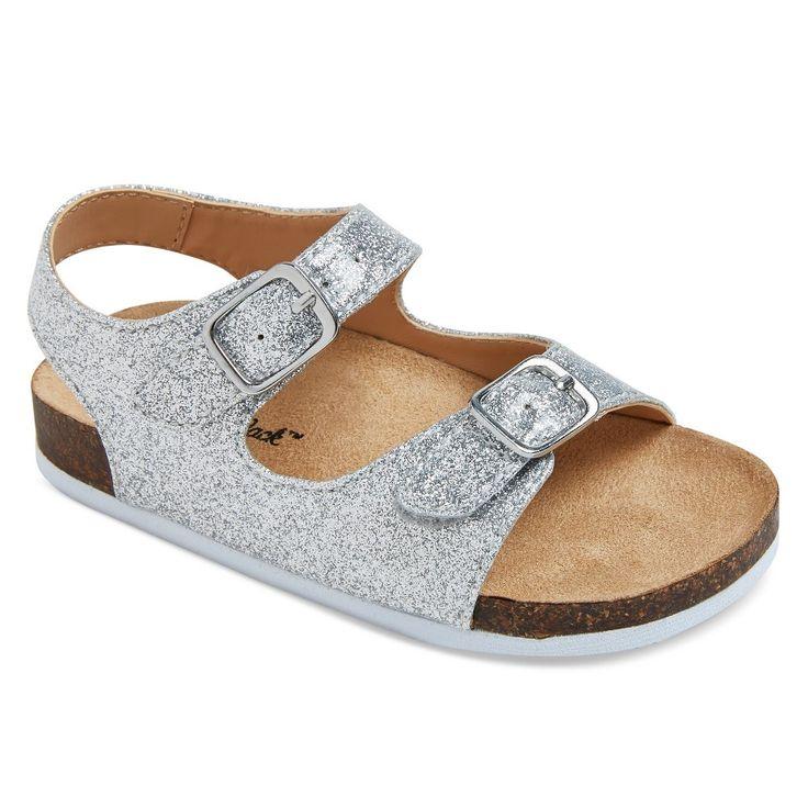 Toddler Girls' Tisha Two Piece Footbed Sandals Cat & Jack - Silver 5, Toddler Girl's