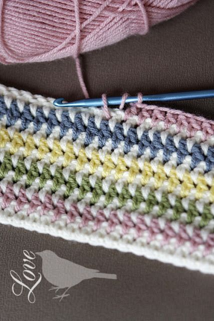 Vintage Stripe Crochet Pattern - Make a baby blanket? - colored yarn=2 rows, white yarn=1 row