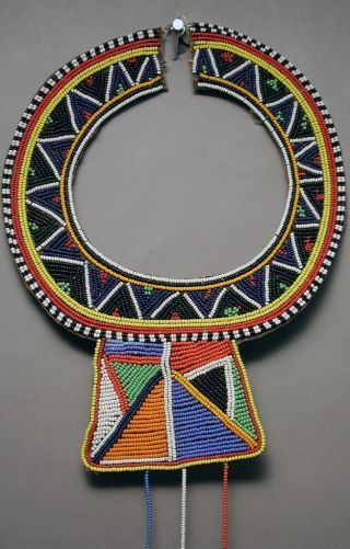 Maasai Traditional Vibrant Colorful Beaded Collar African Necklace Kenya Ethnix photo