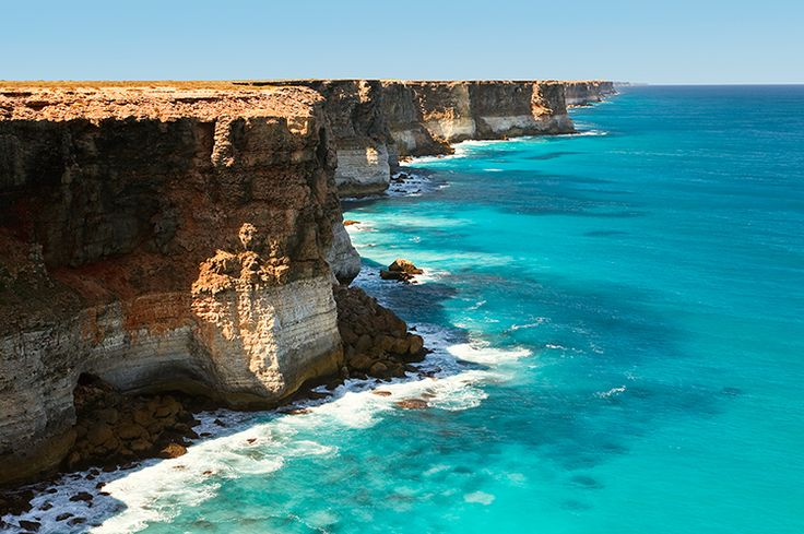 The cliffs of the Great Australian Bight. Watch southern right whales from the coast at the Head of Bight lookout, 78km west of Yalata (South Australia), July to September.