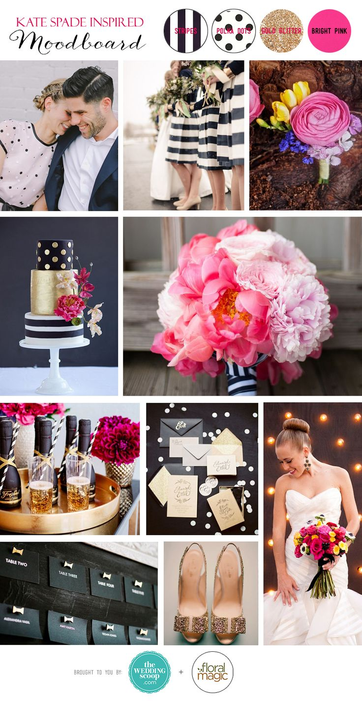 Inspired by the classic, colourful and irreverent designs of Kate Spade // Kate Spade-Inspired Wedding Moodboard