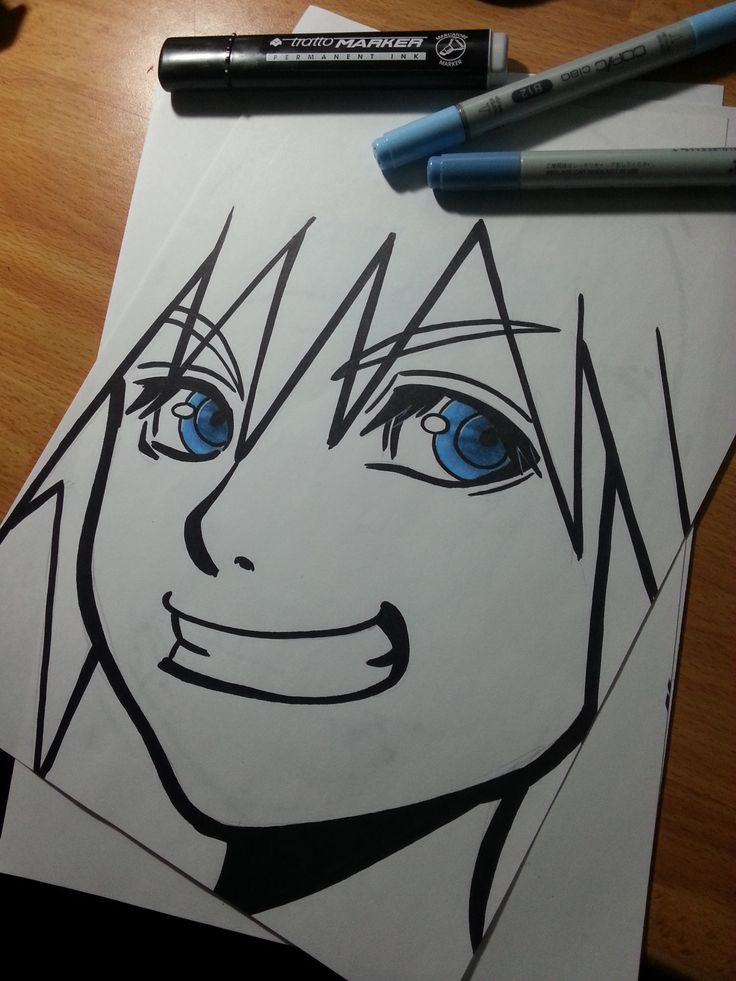 #sora 's #fanart #portrait from #kingdomhearts #videogames #series ! He also has got amazing #blue #eyes and also a huge smile. Way to go, Sora!
