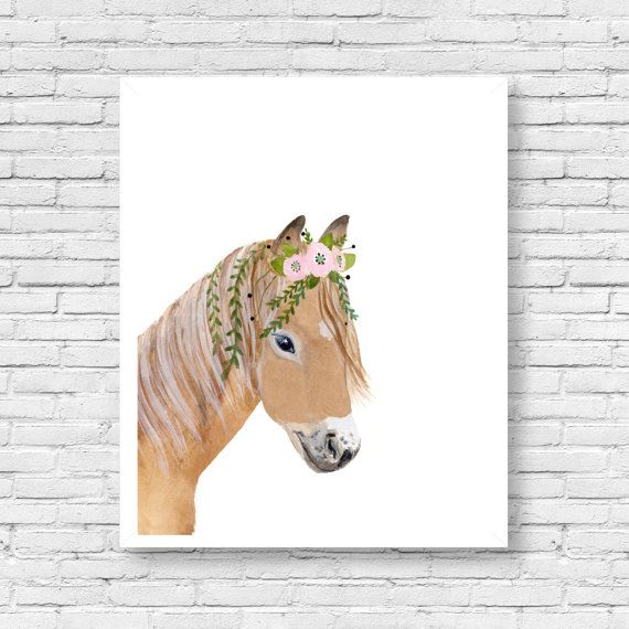 Watercolor pony  animal paintings equestrian decor by zuhalkanar