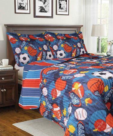 Love this Blue & Red Sports Quilt Set on #zulily! #zulilyfinds