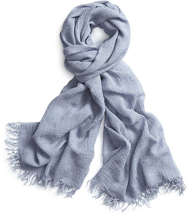 Womens light blue grey plain textured scarf from The White Company - £59 at ClothingByColour.com