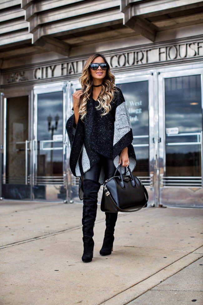 Sale Alert: Shopbop Buy More, Save More Event - Sole Society Poncho // BlankNYC Faux Leather Pants // Black Over-The-Knee Boots // Sole Society Choker // Saint Laurent Sunglasses // Givenchy 'Antigona' Bag November 23rd, 2016 by maria