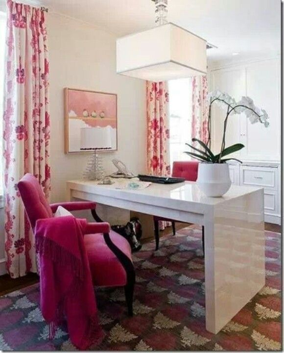 love home office space. love the bold prints and colors in this stylish home office space