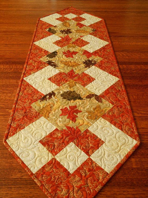 Elegant Fall Table Runner Quilted Autumn Table by susiquilts