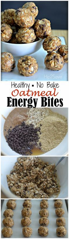 Oatmeal Energy Bites (Easy No-Bake Snack) 1 cup rolled oats, 1/2 cup almond butter (or substitute peanut butter), 1/2 cup chocolate chips, 1/3 cup raw honey, 1/4 cup groundflaxseed.