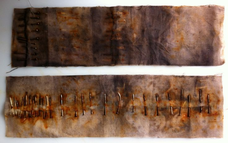 more experiments rusting pins.. maybe test out metal sewn onto garments, then dyed/rusted