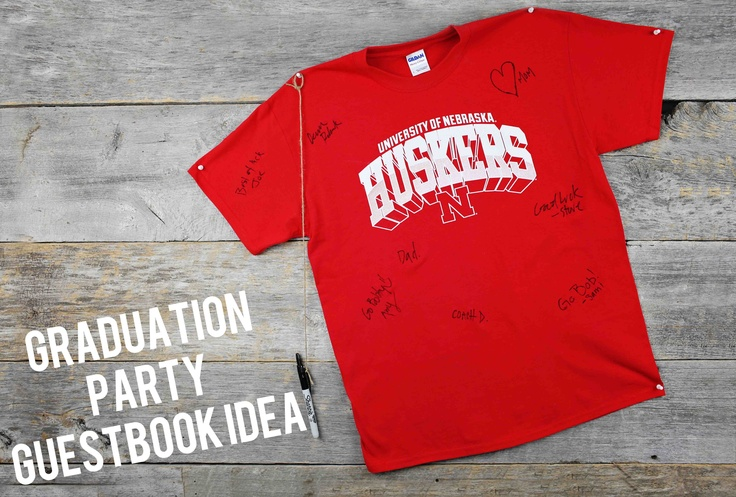 All Star Graduation Party Ideas - using your college t-shirt as a guestbookGuest Books, Future Colleges, Grad Parties, Stars Graduation, Parties Ideas, T Shirts, Trees Greeting, Party Ideas, Graduation Parties