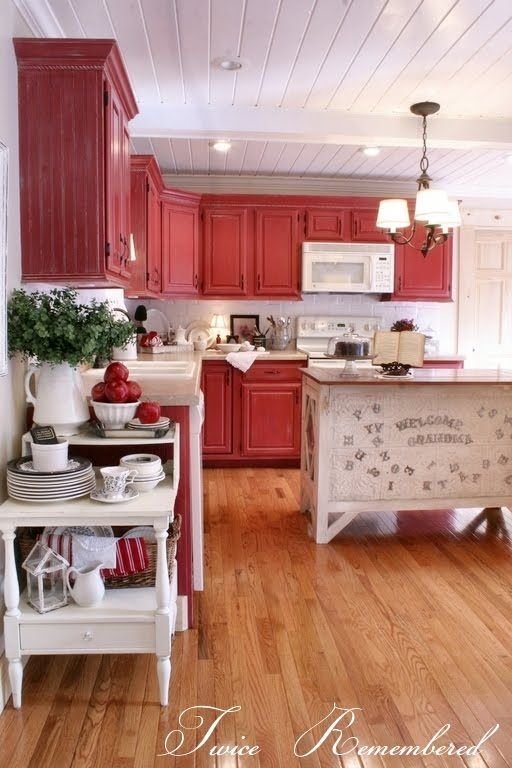 Twice Remembered: Red Cottage / Farmhouse Style Kitchen Progress Photos and  Details. Can't really see me having a red kitchen, but just keeping some  ideas ...