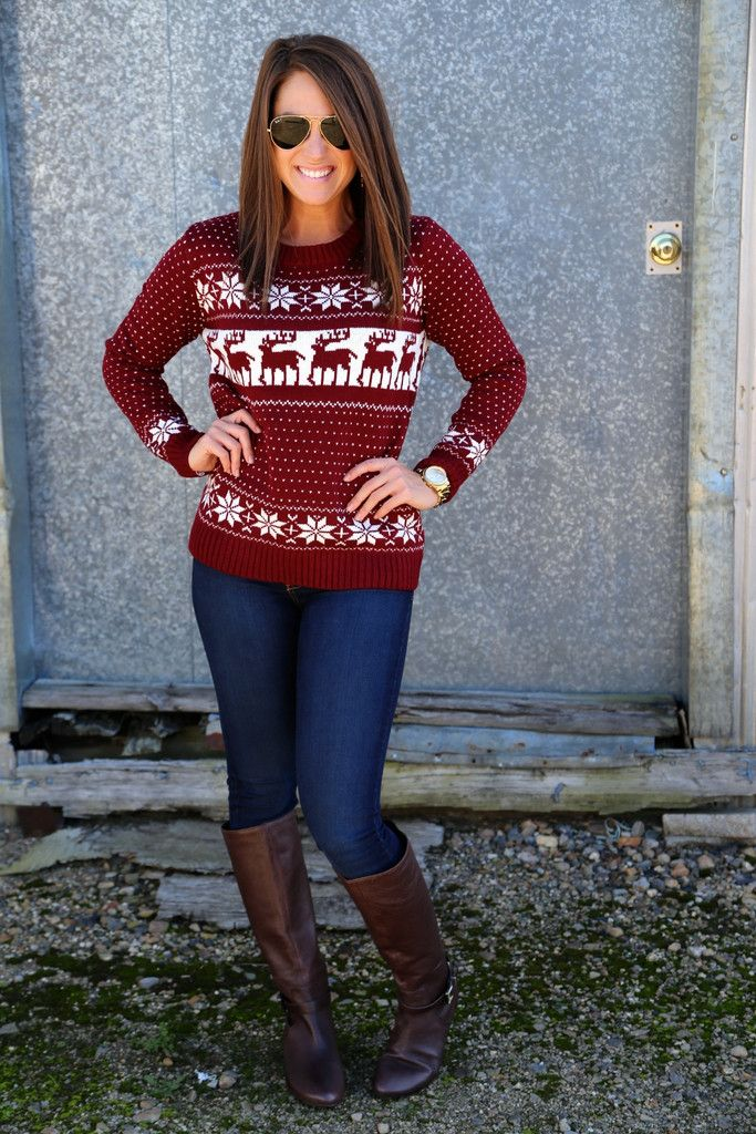 Vintage Winter Knit {Burgundy} Moose Reindeer sweater