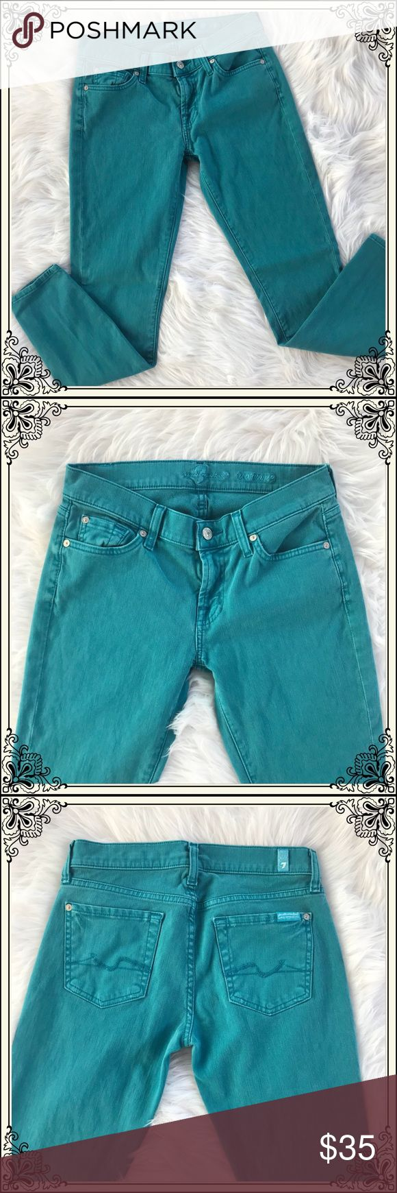 7 For All Mankind Teal Skinny Jeans #2224 These 7 For All Mankind Teal Jeans have a single Button and zipper fly and are 5% Spandex. They have a skinny leggings style to them. In great condition. 7 For All Mankind Jeans Skinny