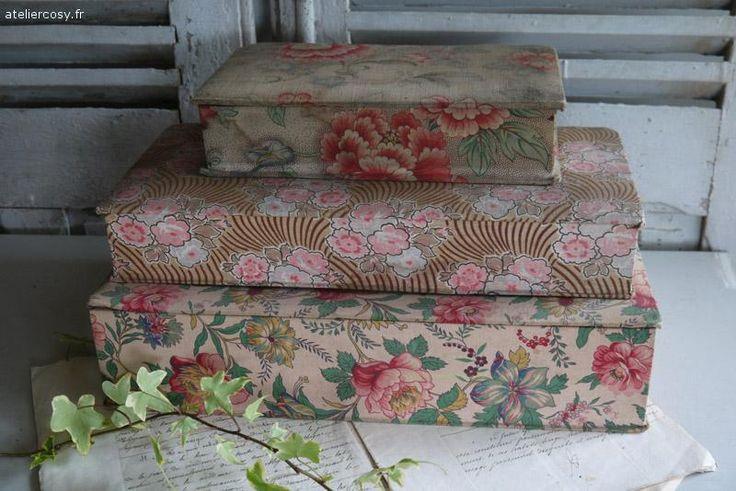 Anciennes boites tissu de mercerie ou couture , brocante de charme atelier cosy.fr