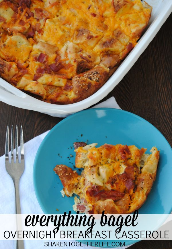 Easy, Cheesy Everything Bagel Overnight Breakfast Casserole - great for a crowd and perfect to prep the night before!