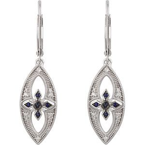 14kt sterling silver blue sapphire and diamond lever back earrings, 1/6cttw. Find them at a jeweler near you: www.stuller.com/locateajeweler #septemberbirthstone #birthstonejewelry