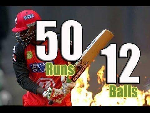 Chris Gayle Batting Fastest Fifty & Longest Six in Cricket History 50 ru...