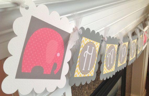 Pink Elephant Happy Birthday Theme - Yellow Chevron Gray accents - Party Packs Availabe