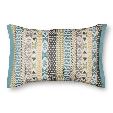 Southwestern Lumbar Pillow : Threshold Embroidered Southwestern Stripes Lumbar Pillow - Aqua Other parts of house ...