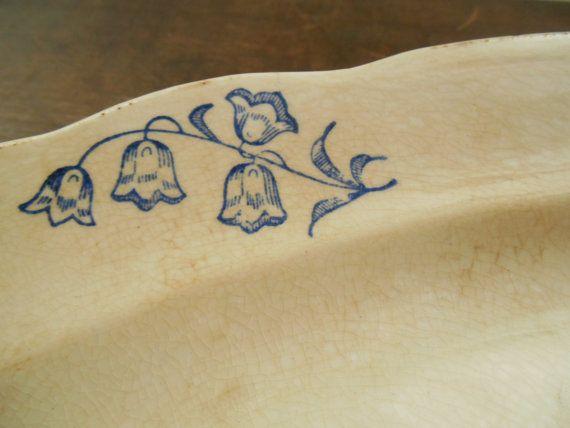 Vintage Swedish GEFLE Klockor platter Antique Oval serving plate White blue floral plate Shabby floral platter  A beautiful platter from the Swedish