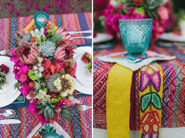 Bougainville, cactus, succulent, and protea centerpiece by Primary Petals, as featured on Green Wedding Shoes. Photography by Farhad Samari. www.primarypetals.com