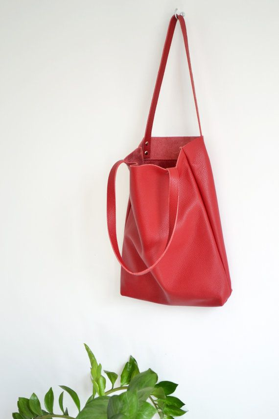 Everyday RED LEATHER Tote Bag Pebbled Leather Laptop by KadoBag