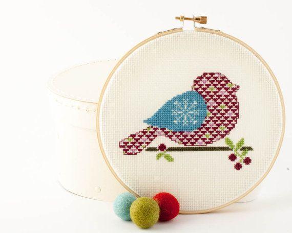 Cross stitch pattern PDF Winter Bird in Blue by RedGateStitchery, $5.00