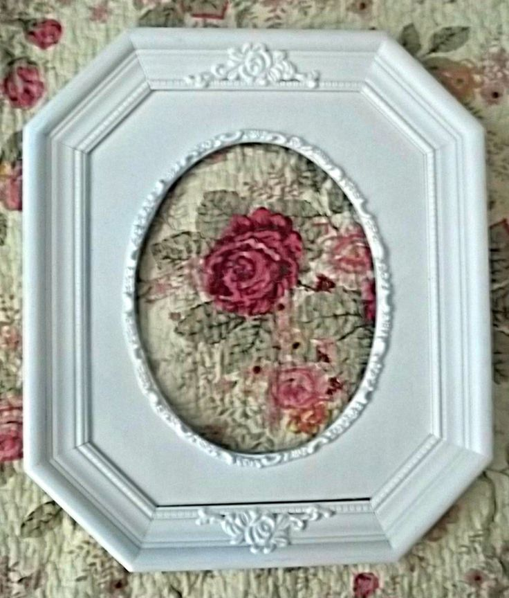 vintage picture frame wood ornate octagon + oval painted antique white shabby