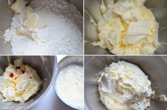 Basisrecept botercreme 45 Gr bloem, 250 ml melk, 200 Gr roomboter, 200 Gr poedersuiker, vanille extract