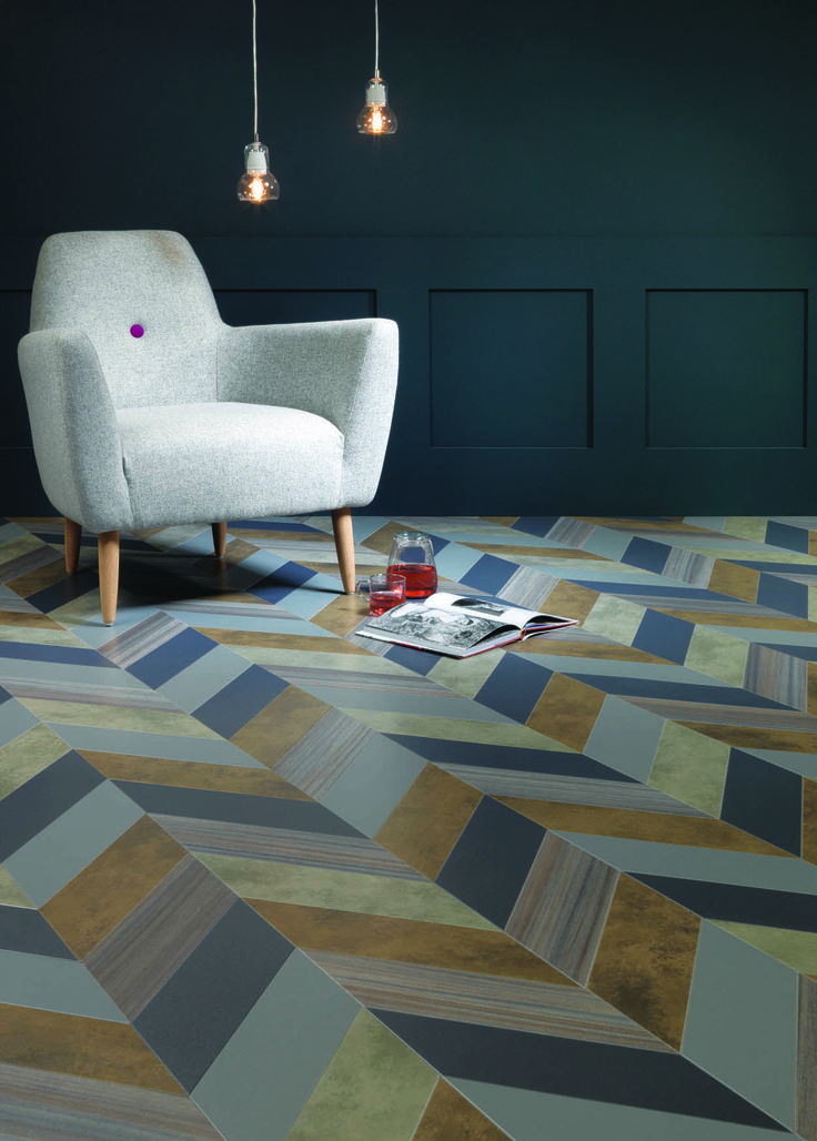 Shimmer Denim Shimmer Metal Patina Vapour Patina Lune Equator Wave  Herringbone Pleat By Amtico Flooring