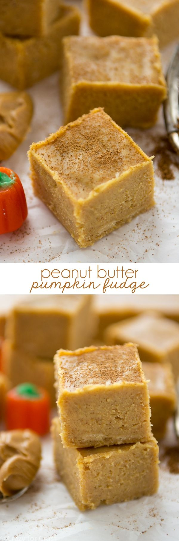 Easy No-Fail Peanut Butter Pumpkin Fudge has only 5 ingredients and is the perfect fudge for the holidays!