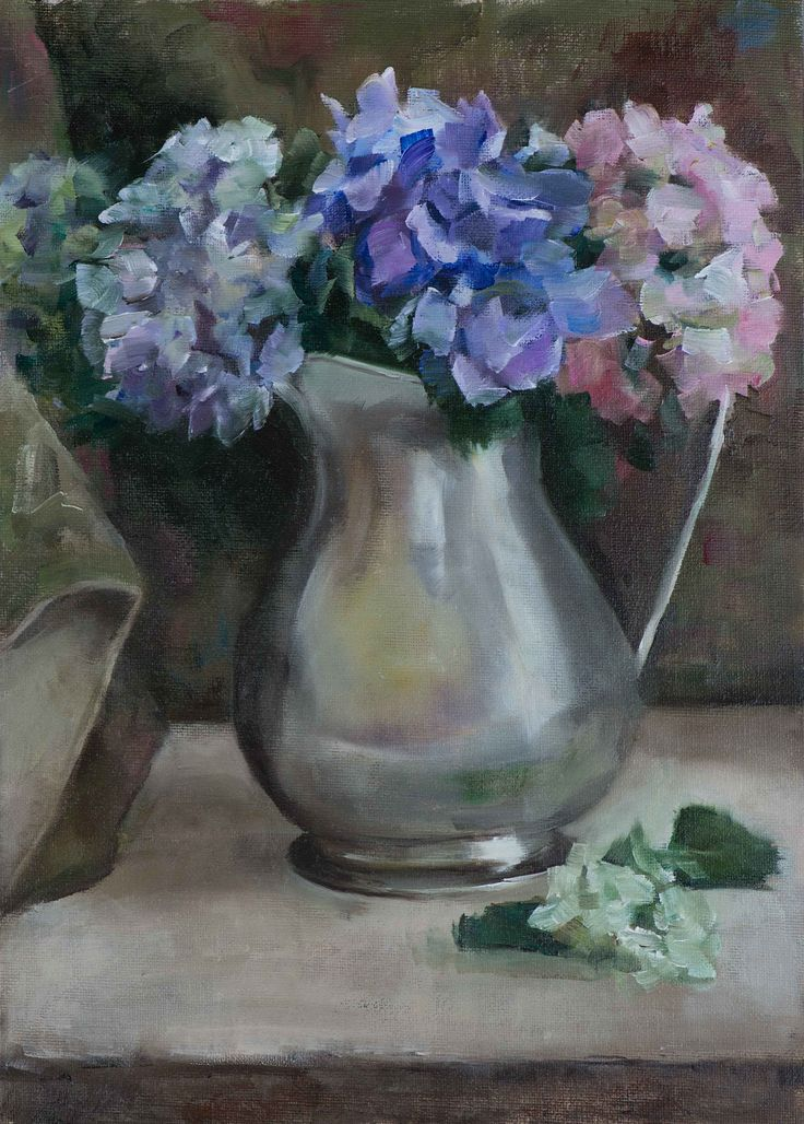 """'Silver Jug with Hydrangeas"""", oil on canvas painting, by artist Trish Ann Mitchell"""