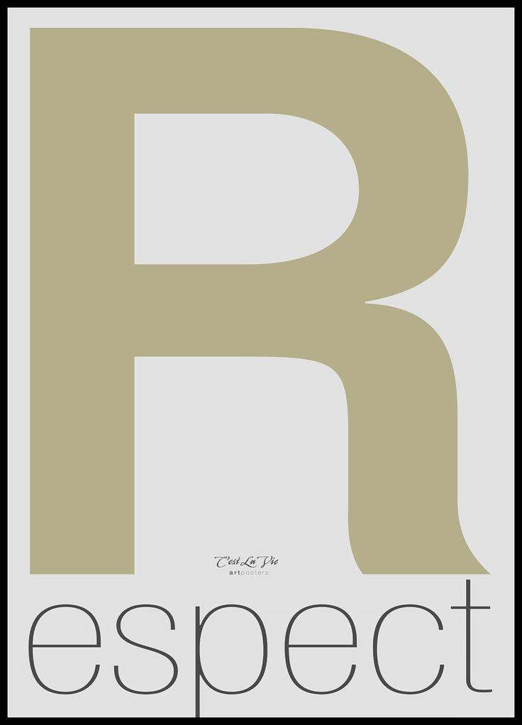 Vår tavla Respect är enkel och stilren med ett tydligt budskap. Tavlan kommer komplett med svart ram och är bara att placera på en väl vald plats i ditt hem.
