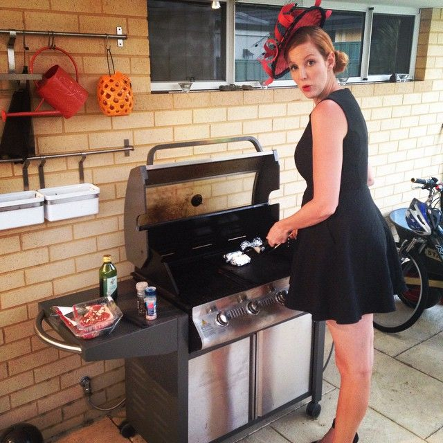Instagram media by gemma6foot6 - Last night cooking a fancy bbq in a fancy outfit for my man after melbourne cup #bbqau