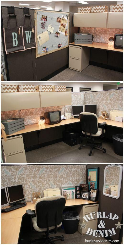 Love this inexpensive easy cubicle makover for my office :)