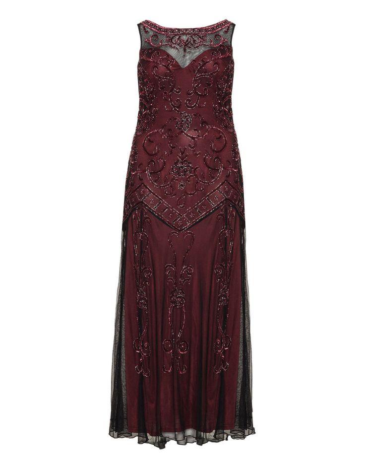Ariella Abendkleid mit Pailletten  in Bordeaux Rot / Schwarz